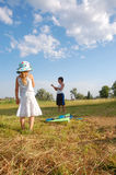 children with kite stock photography