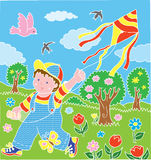 Children with kite. On the grass Stock Images
