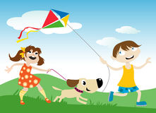 Children with kite Stock Photo