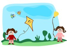 Children with kite and balloon Stock Photos