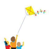 Children with a kite. Royalty Free Stock Photography