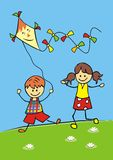 Children and kite, vector icon. Boy and girl venturing kite. Funny illustration Stock Images