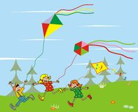 Children and kites. Children and colored kites. Funny illustration for kids Royalty Free Stock Photo