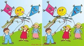 Children and kites - 10 differences. Game for kids - Find ten differences - flying kites Stock Photo