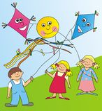 Children and kites Royalty Free Stock Image