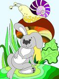 Children koloru kresk?wki zwierz?cy przyjaciele w naturze Kr?lik pod ?limaczkiem i pieczark? obraz royalty free