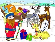 Children koloru kresk?wki zwierz?cy przyjaciele w naturze Santa Claus na biegunie p??nocnym obok sa? i magicznego rogacza zdjęcie royalty free