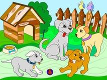 Children koloru ksi??ki kresk?wki rodzina na naturze Mama pies i szczeniak?w dzieci zdjęcie stock