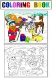 Children kolorystyki i koloru kresk?wki zwierz?cy przyjaciele w naturze Santa Claus i magiczny na biegunie p??nocnym obok sa? obraz royalty free