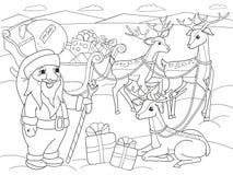 Children kolorystyki kreskówki zwierzęcy przyjaciele w naturze Santa Claus na biegunie północnym obok sań i magicznego rogacza Zdjęcie Stock