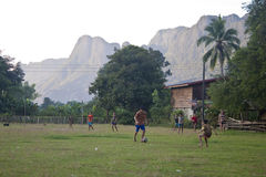 Children from Kong Lo village play soccer Stock Image
