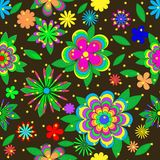 Children kreskówek lata wzór z kwiatami, liśćmi i gwiazdami, Obraz Royalty Free