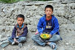 Children from Ladakh (Little Tibet), India Royalty Free Stock Photos