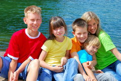 Children at the Lake Royalty Free Stock Image