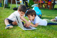 Children on laptop Stock Photography