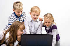 Children with laptop Royalty Free Stock Photos