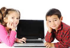 Children on laptop Royalty Free Stock Photo
