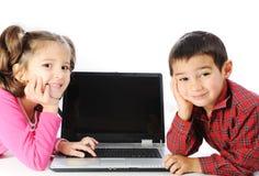 Children on laptop Royalty Free Stock Photo
