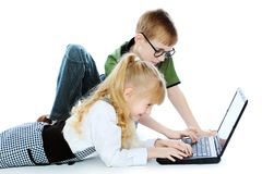 Children with a laptop stock photo