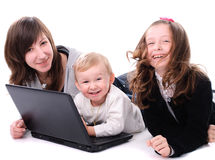 Children with laptop Stock Photos