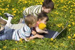 Children with laptop Royalty Free Stock Image