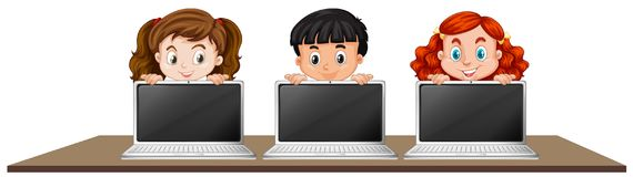 Children with Laptop on White Background. Illustration Stock Images