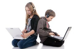 Children with laptops Royalty Free Stock Photos