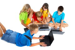 Children with laptops Stock Images