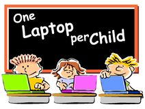 Children with laptops at school. Little kids playing on a laptop computer. One Laptop per child, conceptual illustration Royalty Free Illustration