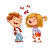 Children laugh fun. Funny cartoon character. Vector illustration. Isolated on white background royalty free illustration