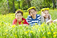 Children on lawn Royalty Free Stock Photo