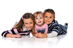 Children Laying on Floor Royalty Free Stock Photos