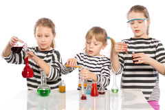 Children learn chemistry, work in the chemical laboratory Stock Photos
