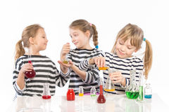 Children learn chemistry, work in the chemical laboratory Royalty Free Stock Photography