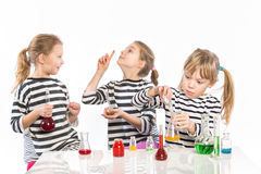 Children learn chemistry, work in the chemical laboratory Royalty Free Stock Photo