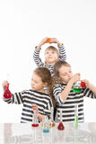 Children learn chemistry, work in the chemical laboratory Stock Photo