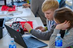 Children learn how to program a robot at Skolkovo Stock Photography