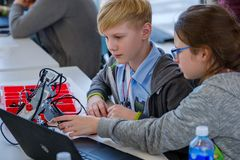 Children learn how to program a robot at Skolkovo Royalty Free Stock Photography