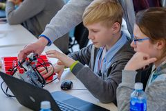 Children learn how to program a robot at Skolkovo Royalty Free Stock Image