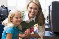 Children learn how to use computers Royalty Free Stock Photo