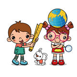 Children learn map. Girl and boy and dog characters royalty free illustration