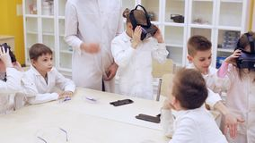 Children learn technology in a modern school