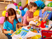 Children learn to draw in prep school. Royalty Free Stock Photography