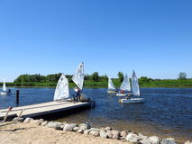 Children learn to sail, Lithuania Stock Photo
