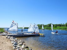 Children learn to sail, Lithuania Royalty Free Stock Photo