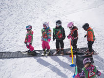 Children learn to ski. Ski school in Alps, Austria, Zams on 22 Feb 2015 Royalty Free Stock Photography