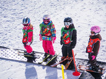Children learn to ski in ski school Royalty Free Stock Photography