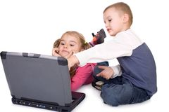 Children learning at computer Royalty Free Stock Photo