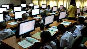 Children are learning computer Thailand stock video