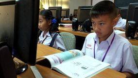 Children are learning computer Thailand stock footage